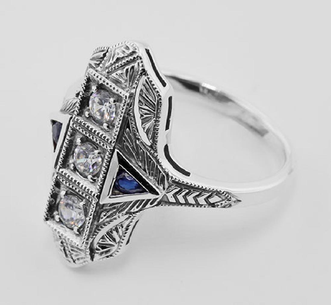 Filigree Ring w/ Sapphire / Crystals - Sterling Silver - 3