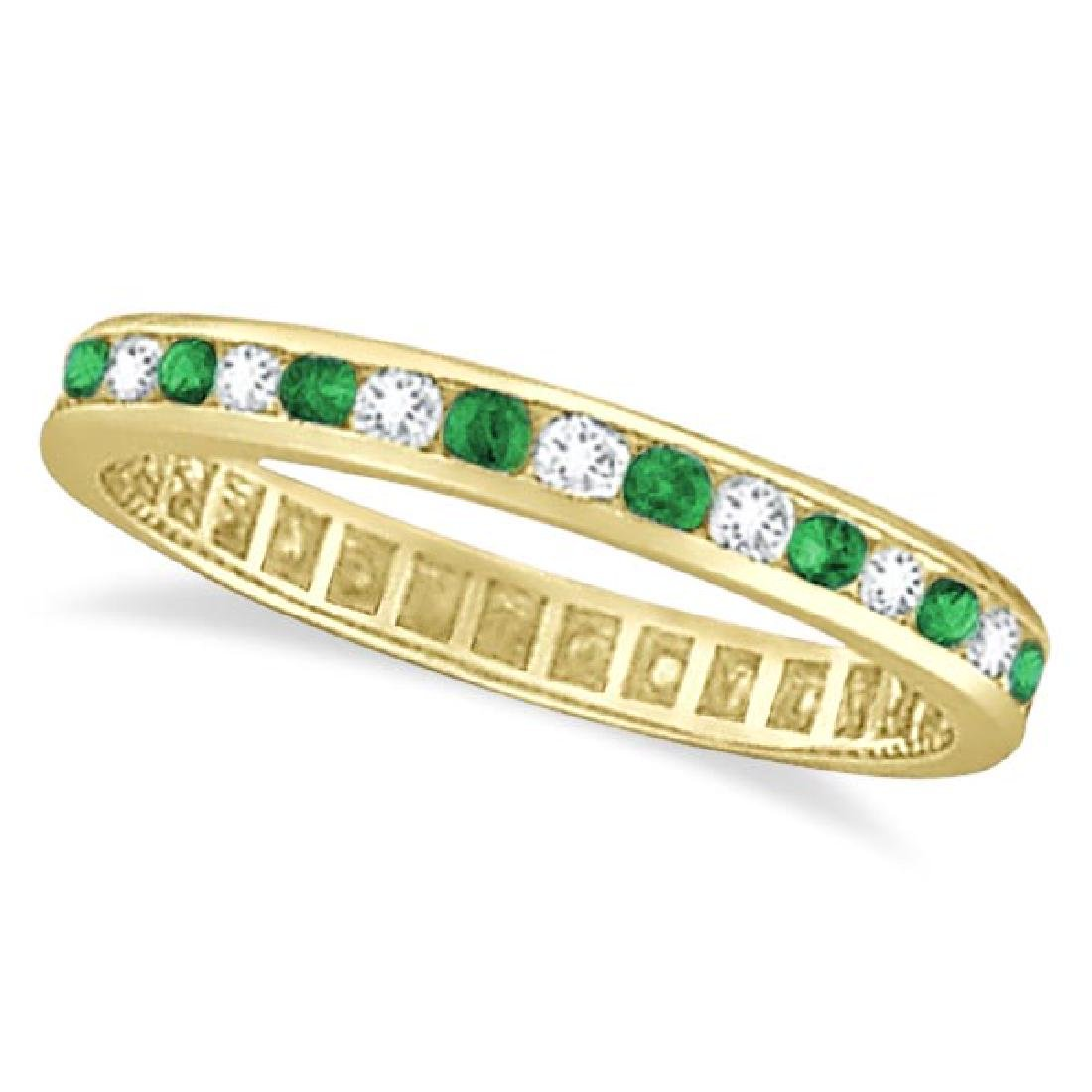Emerald and Diamond Channel Set Eternity Ring Band 14k