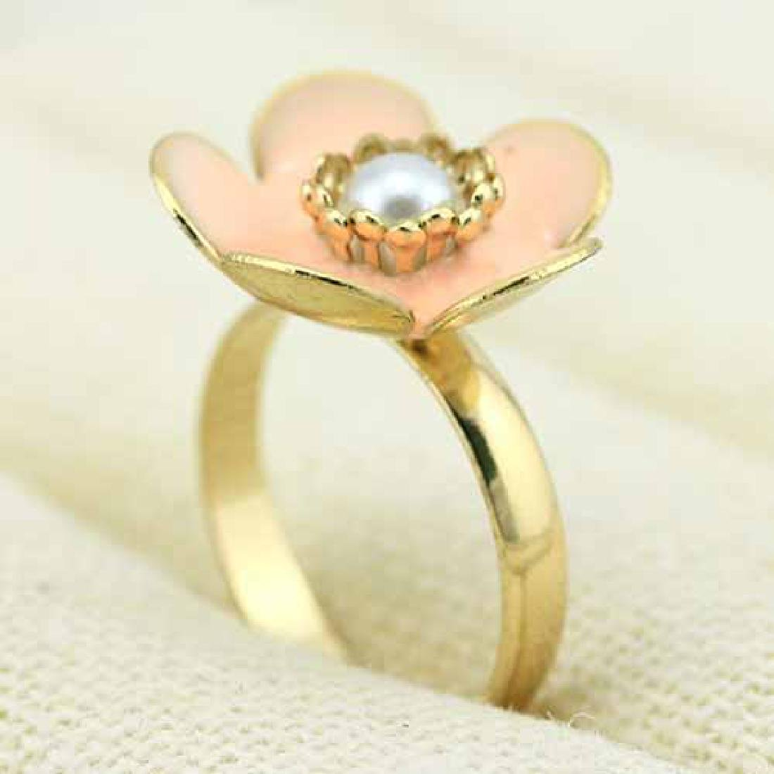 18K GOLD PLATED FLOWER GERMAN SILVER RING
