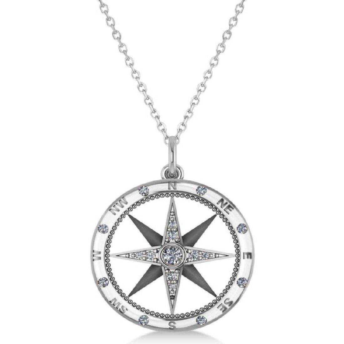 Compass Necklace Pendant Diamond Accented 14k White Gol