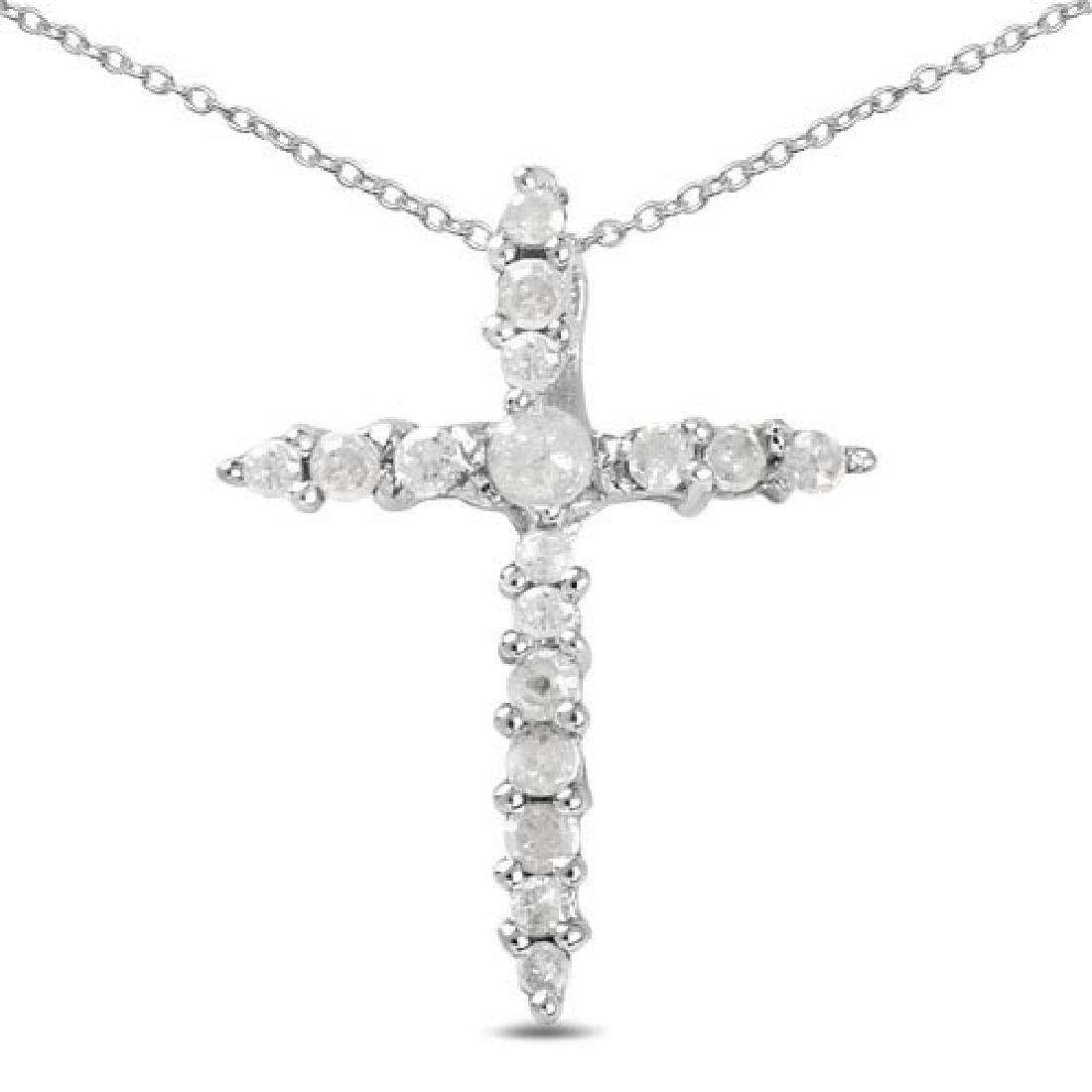 0.14 Carat Genuine White Diamond .925 Sterling Silver P