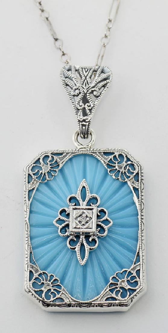 Turquoise Color Filigree Diamond Pendant - Sterling Sil