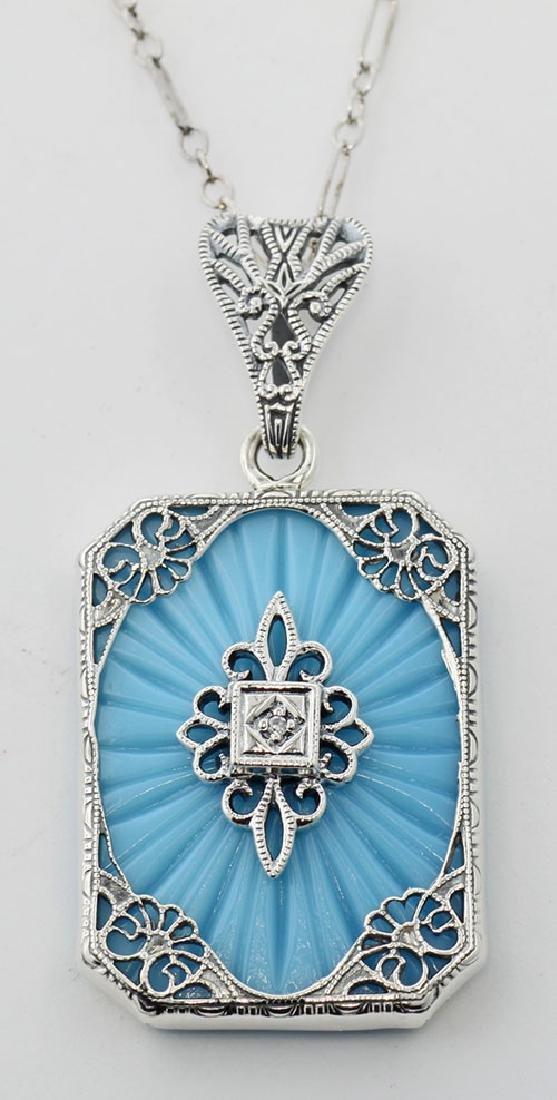 Turquoise Color Filigree Diamond Pendant - Sterling Sil
