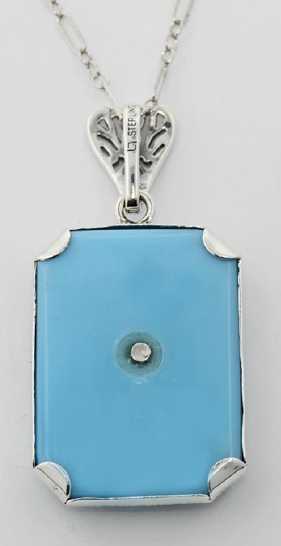 Turquoise Color Filigree Diamond Pendant - Sterling Sil - 2