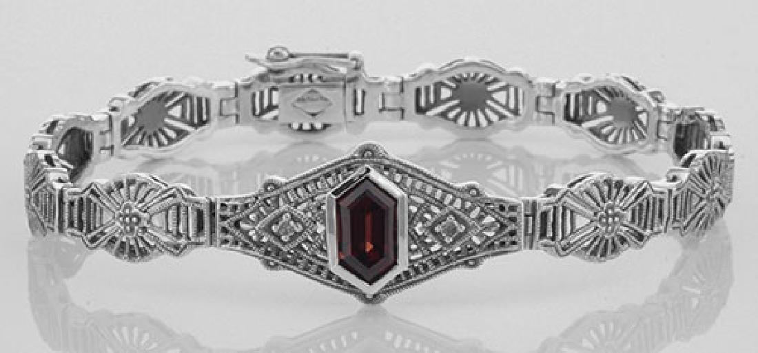 Victorian Style Red Garnet & Diamond Filigree Link Brac