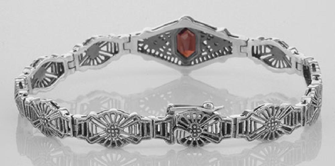 Victorian Style Red Garnet & Diamond Filigree Link Brac - 2