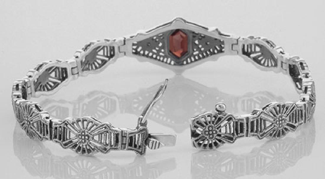 Victorian Style Red Garnet & Diamond Filigree Link Brac - 3