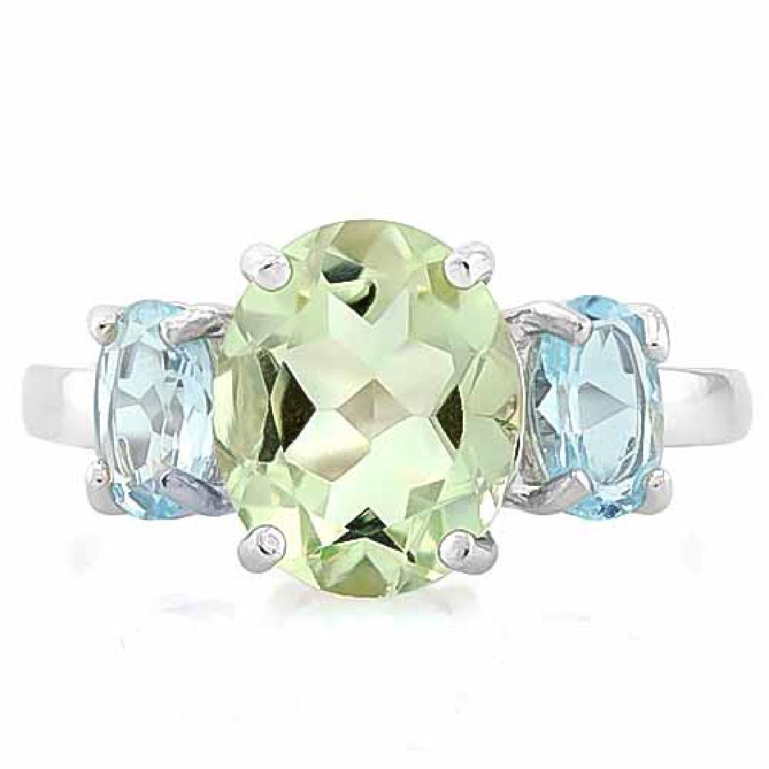 2 1/3 CARAT GREEN AMETHYST & 2 CARAT BABY SWISS BLUE TO