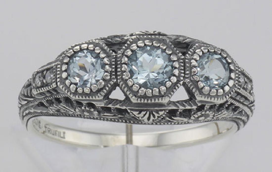 Art Deco Style Blue Topaz Filigree Ring w/ 4 Diamonds - - 2