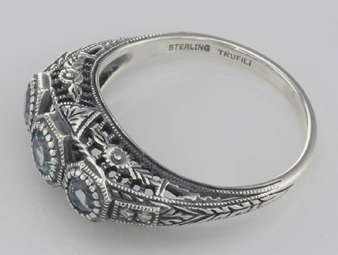 Art Deco Style Blue Topaz Filigree Ring w/ 4 Diamonds - - 3