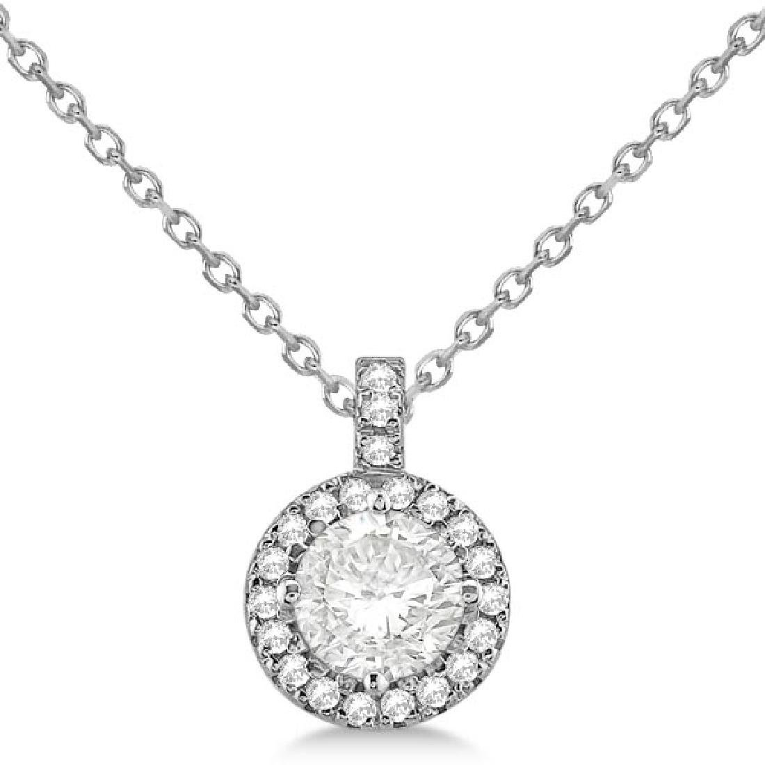 Diamond Halo Pendant Necklace Round Solitaire 14k White