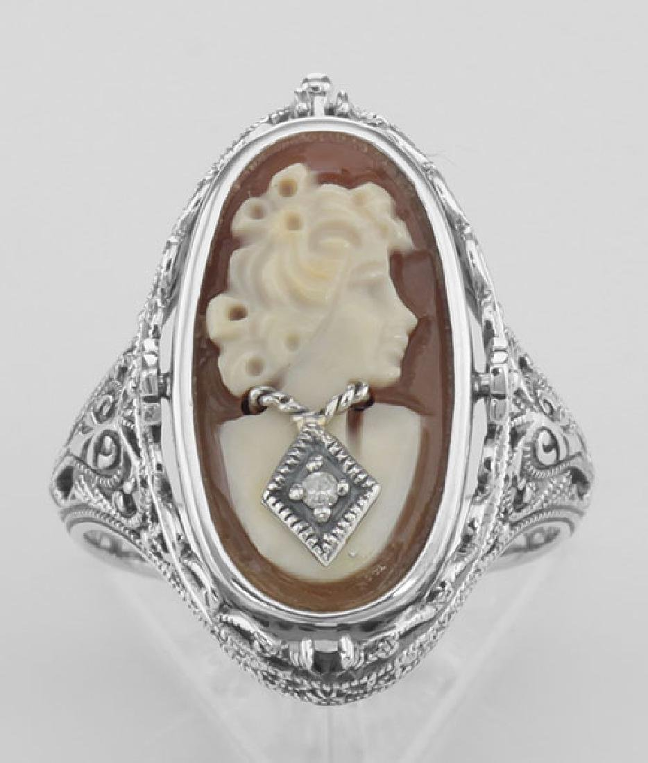Cameo / Onyx w/ Diamonds Filigree Flip Ring - Sterling - 2