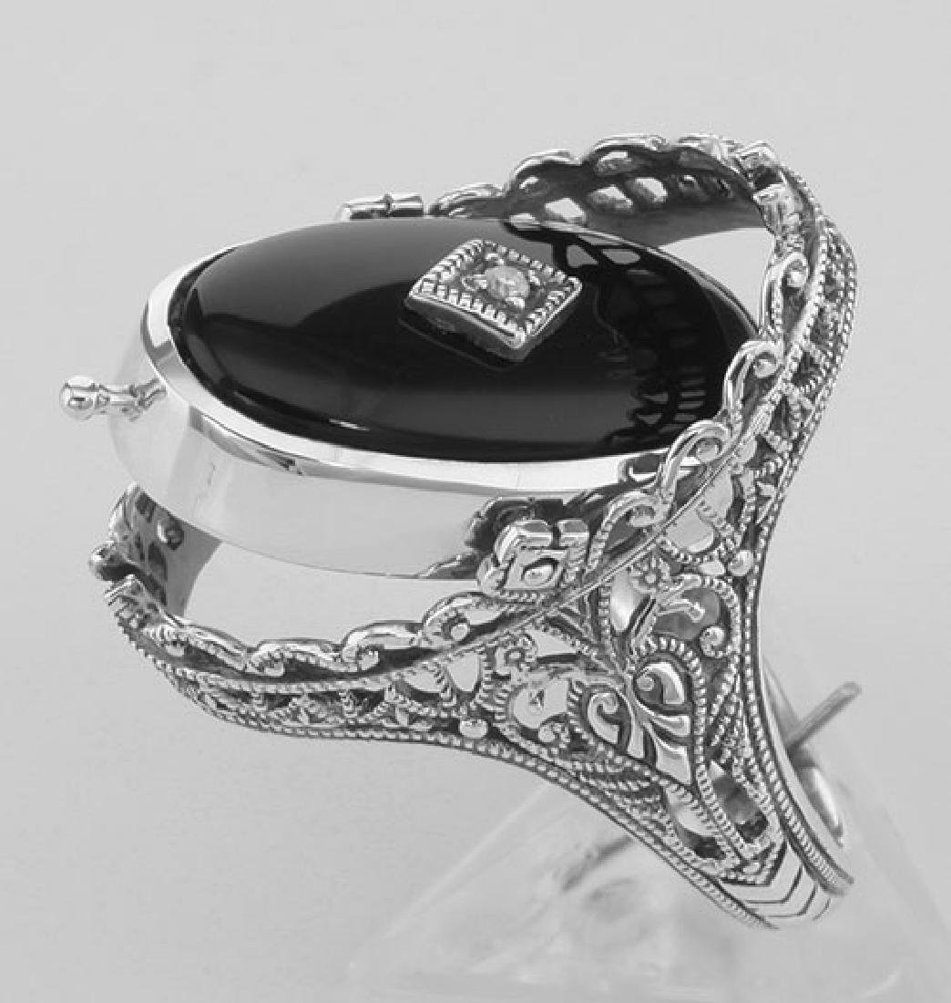 Cameo / Onyx w/ Diamonds Filigree Flip Ring - Sterling - 3