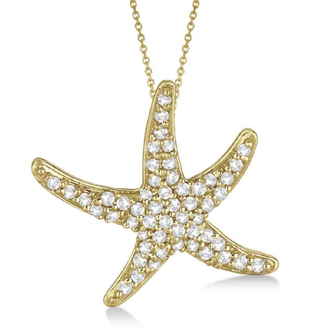 Diamond Starfish Pendant Necklace 14k Yellow Gold (0.55