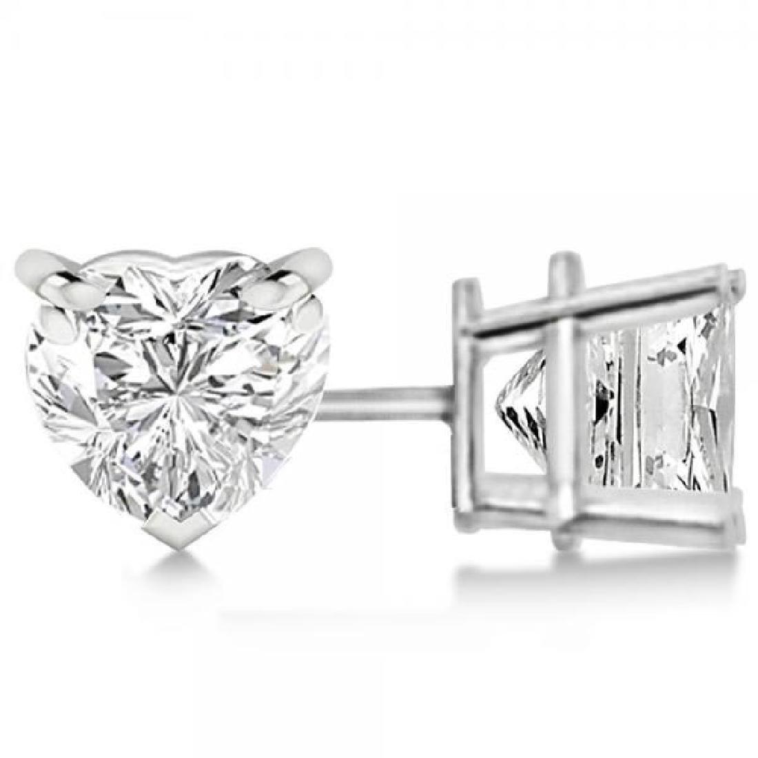 0.50ct Heart-Cut Diamond Stud Earrings 14kt White Gold