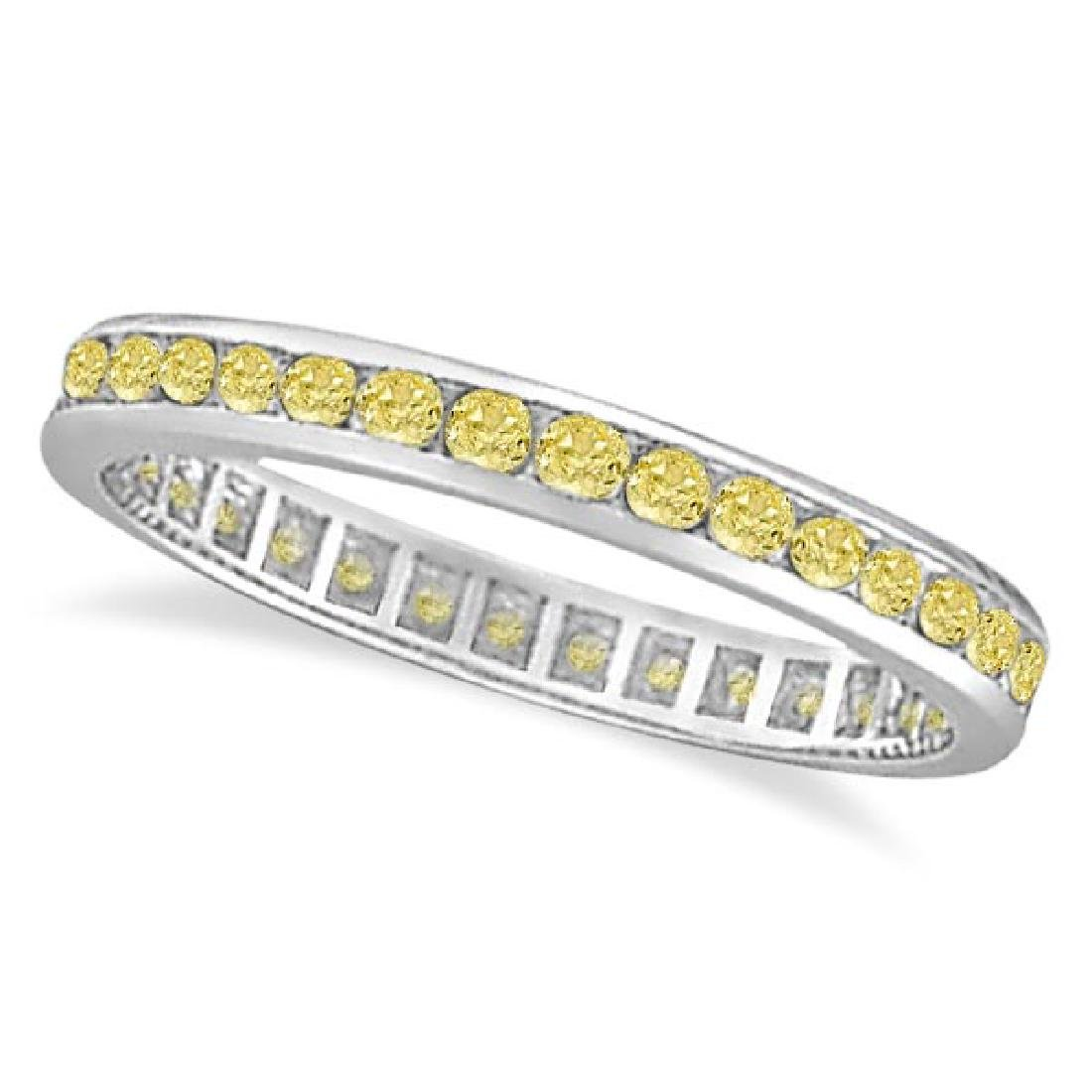 Channel Set Yellow Canary Diamond Eternity Ring 14k Whi