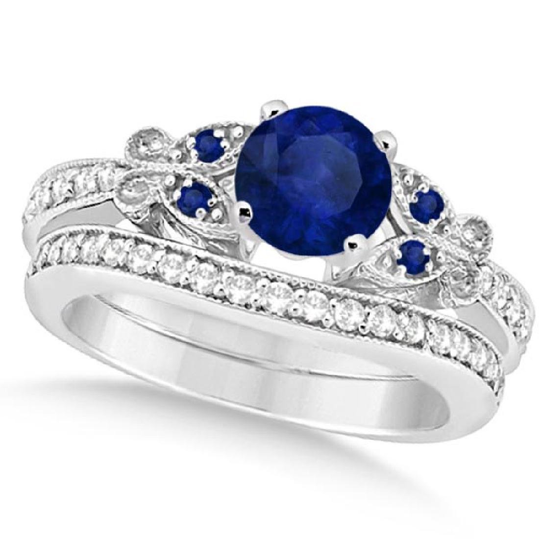 Butterfly Blue Sapphire and Diamond Bridal Set 14k Whit