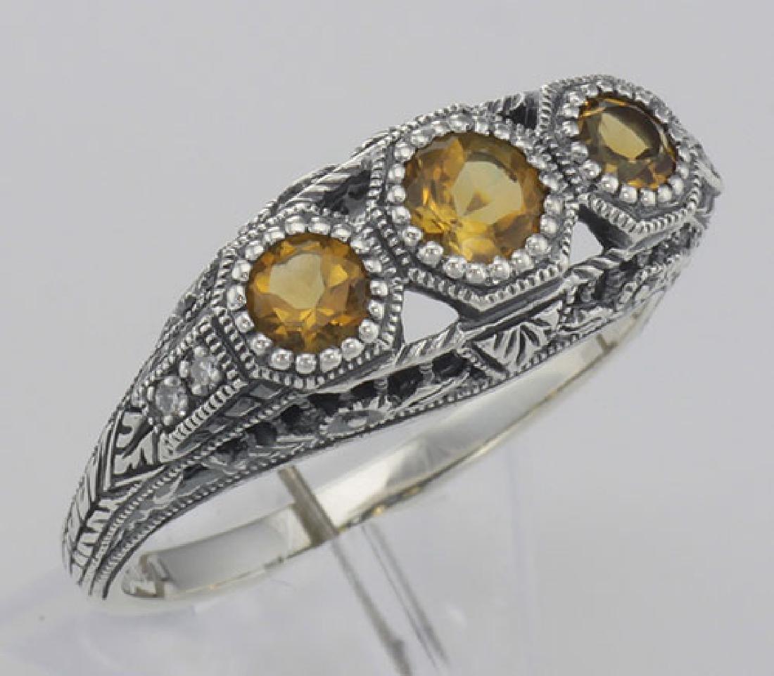 Art Deco Style Citrine Filigree Ring w/ 4 Diamonds - St