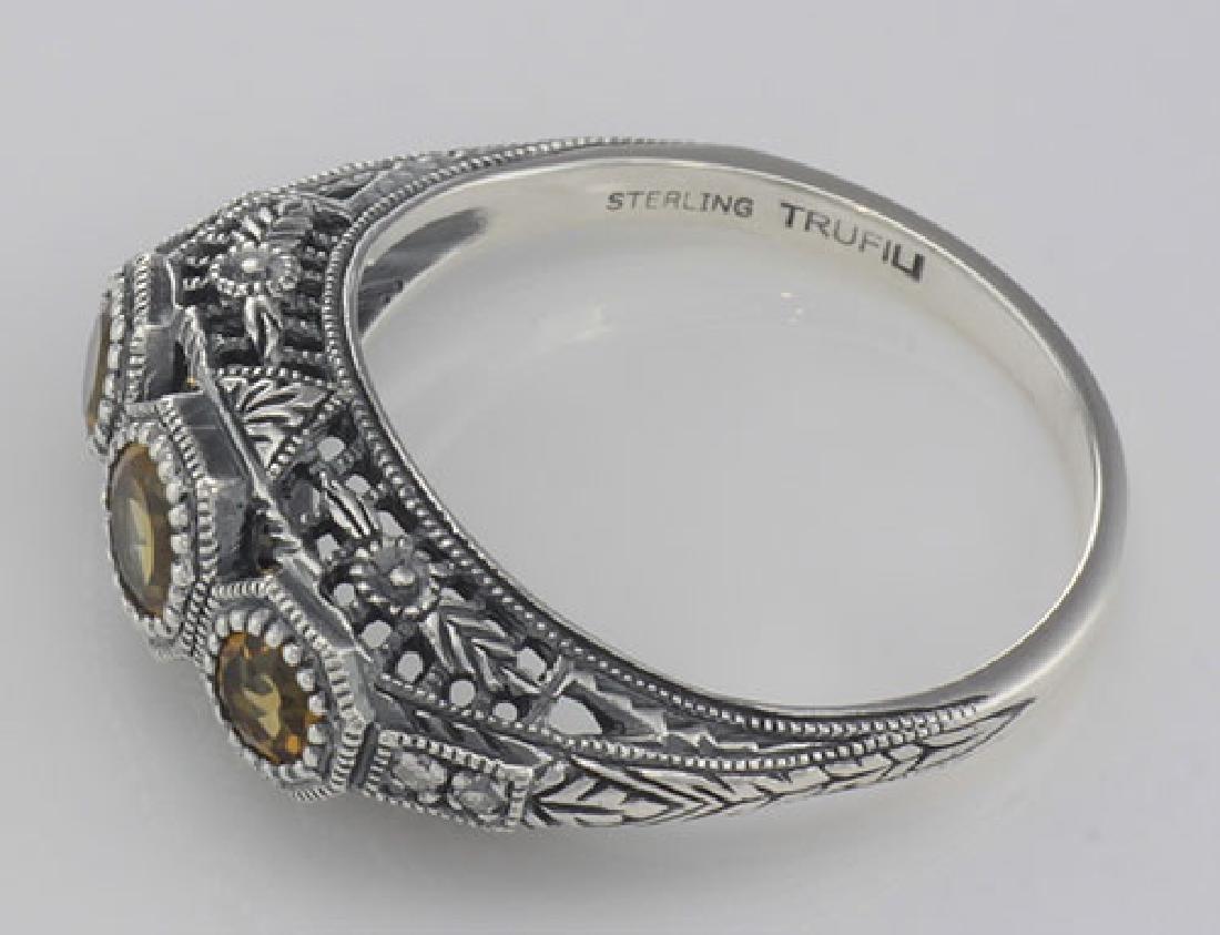 Art Deco Style Citrine Filigree Ring w/ 4 Diamonds - St - 3