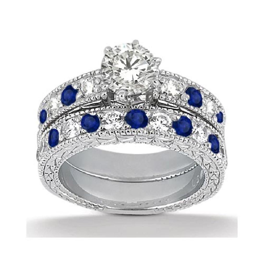Antique Diamond and Blue Sapphire Bridal Set 14k White