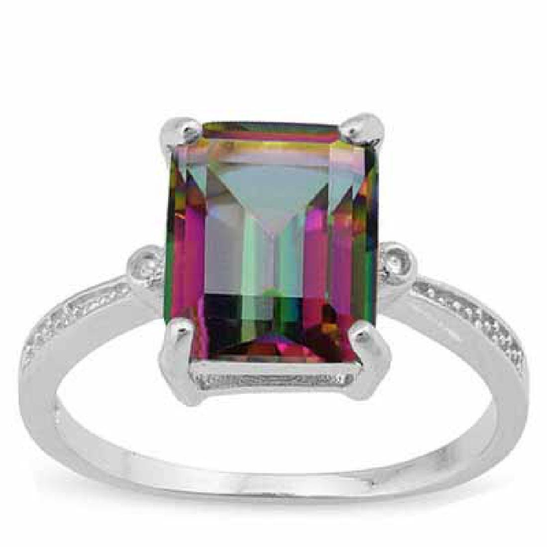 3 CARAT MYSTIC GEMSTONE & DIAMOND 925 STERLING SILVER R