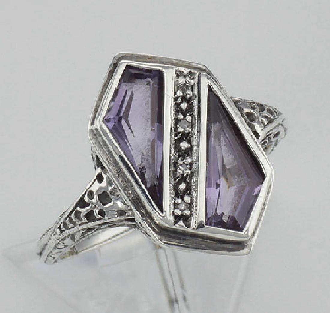 Unique Art Deco Style Amethyst & Diamond Filigree Ring
