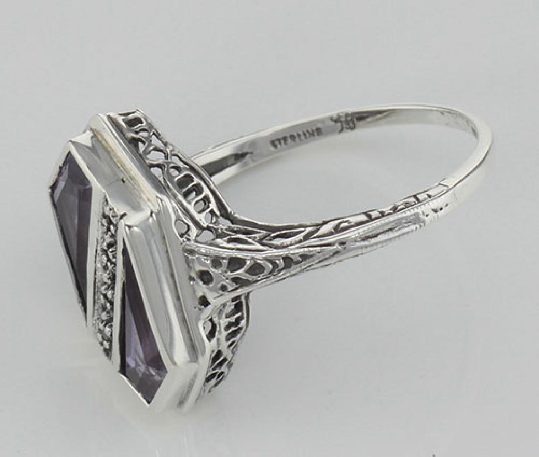 Unique Art Deco Style Amethyst & Diamond Filigree Ring - 3