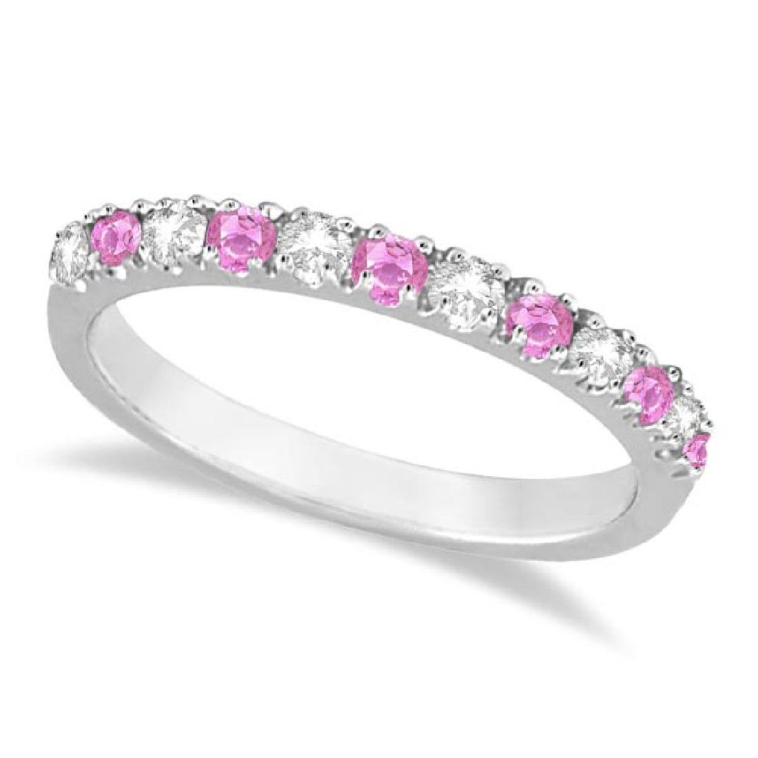 Diamond and Pink Sapphire Ring Guard Stackable 14k Whit