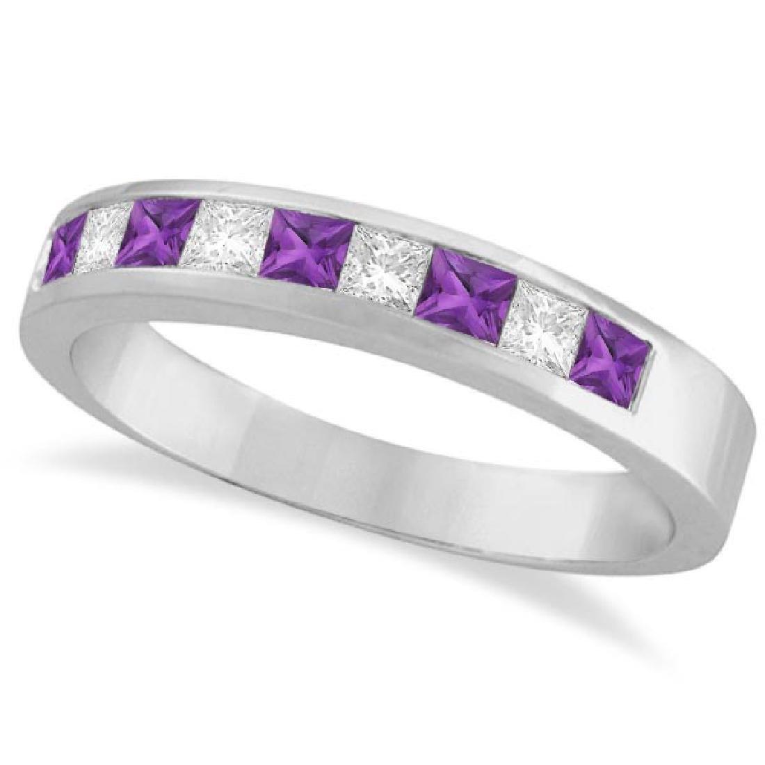 Princess Channel-Set Diamond and Amethyst Ring Band 14K