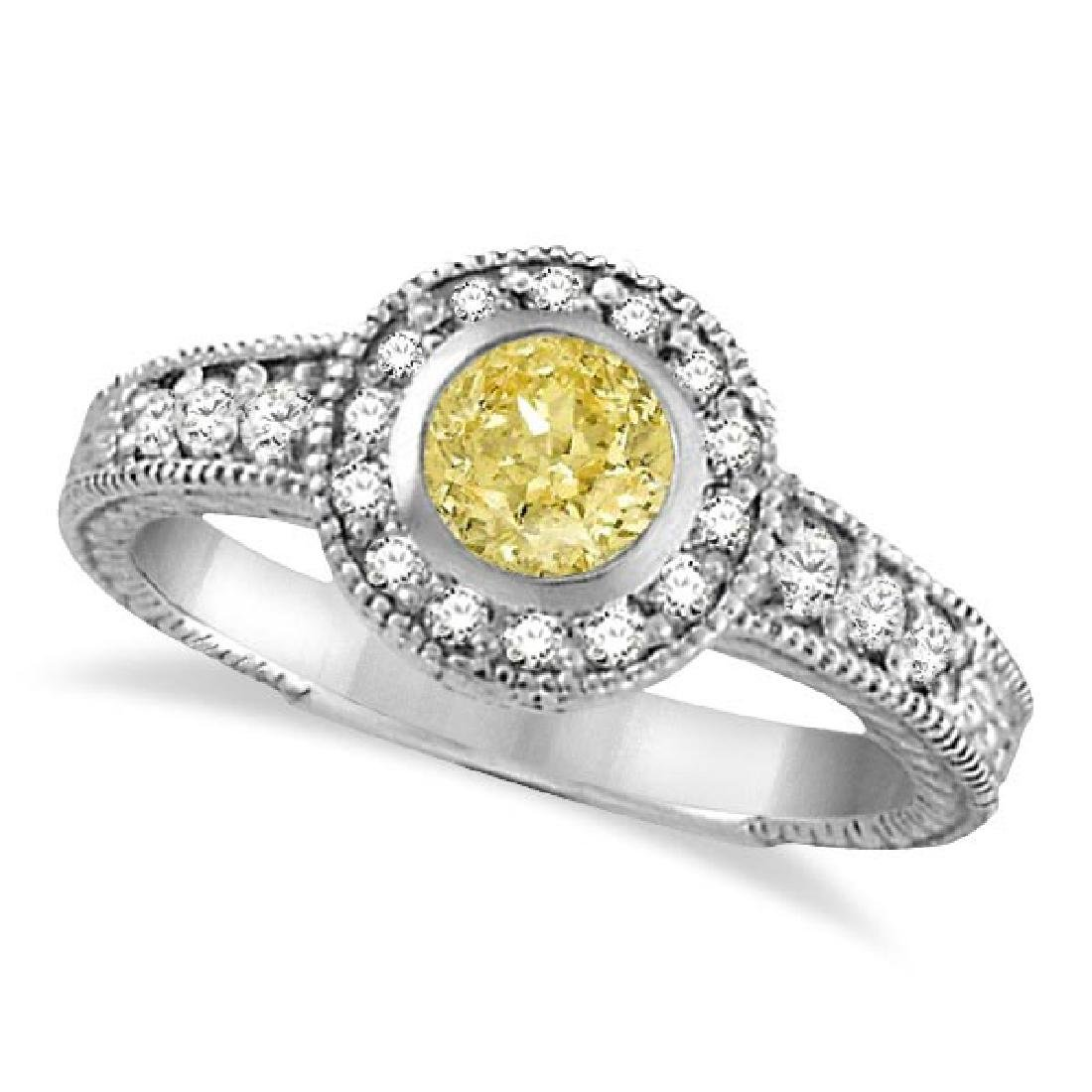 Yellow Canary and White Diamond Antique Style Ring 14K