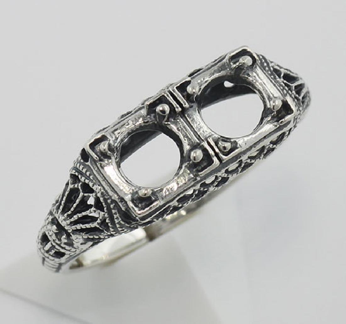Art Deco Style Semi Mount Filigree Ring - Sterling Silv