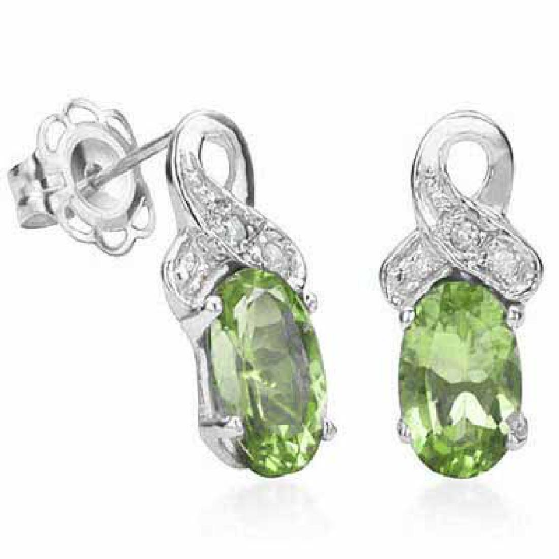 0.95 CT PERIDOT & GENUINE DIAMOND PLATINUM OVER 0.925 S