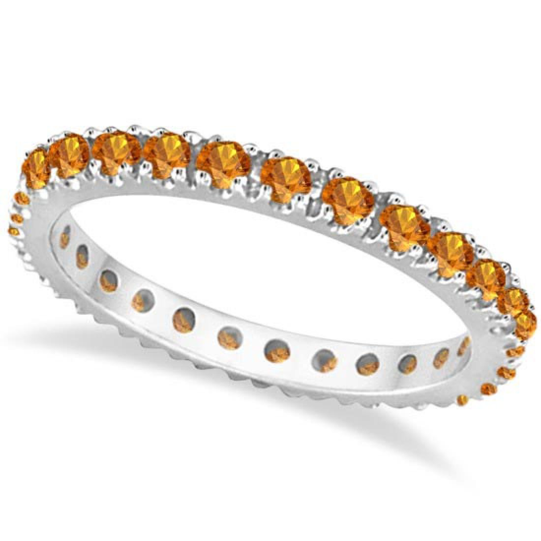 Citrine Eternity Stackable Ring Band 14K White Gold (0.