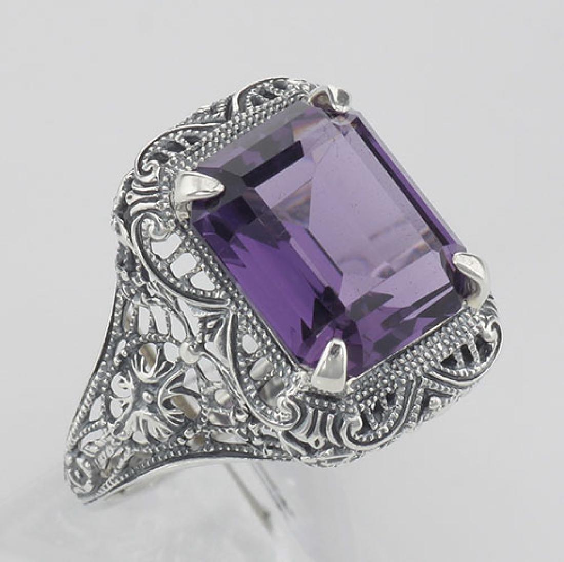 Art Deco Style Genuine Emerald Cut Amethyst Ring - Ster
