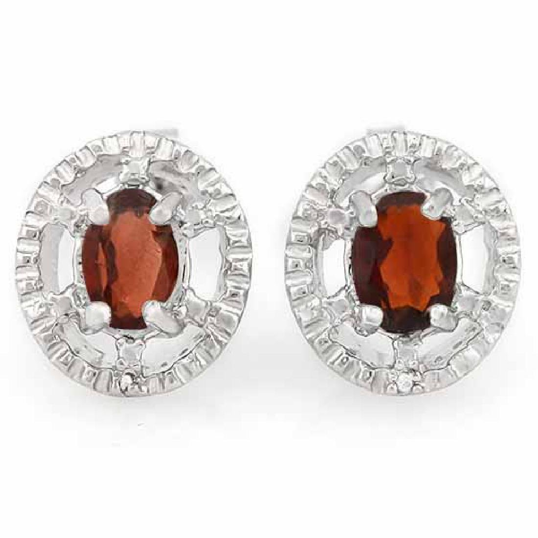 1 CARAT GARNET & DIAMOND 925 STERLING SILVER EARRINGS