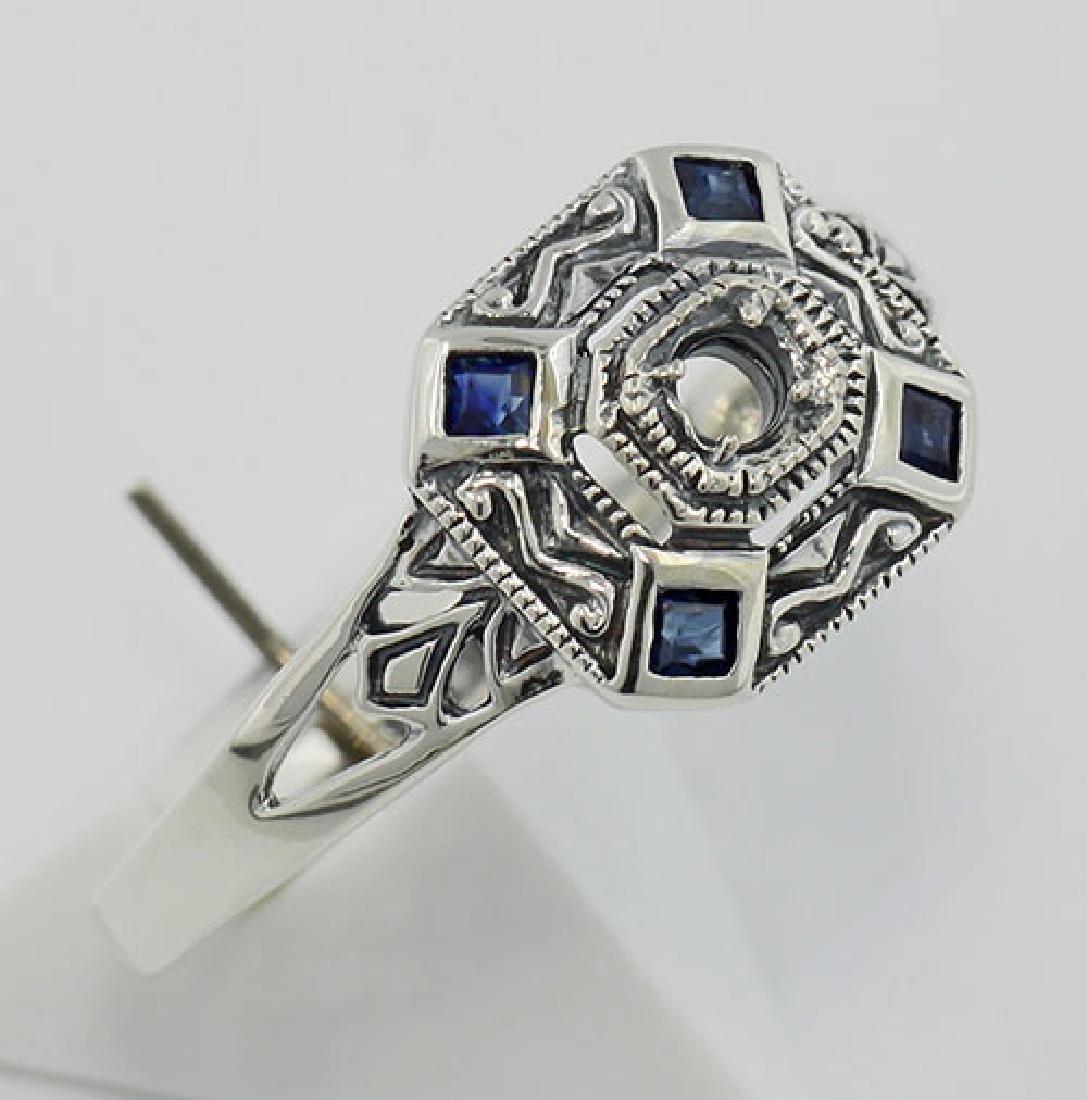 Art Deco Style Semi Mount Sapphire Filigree Ring - Ster