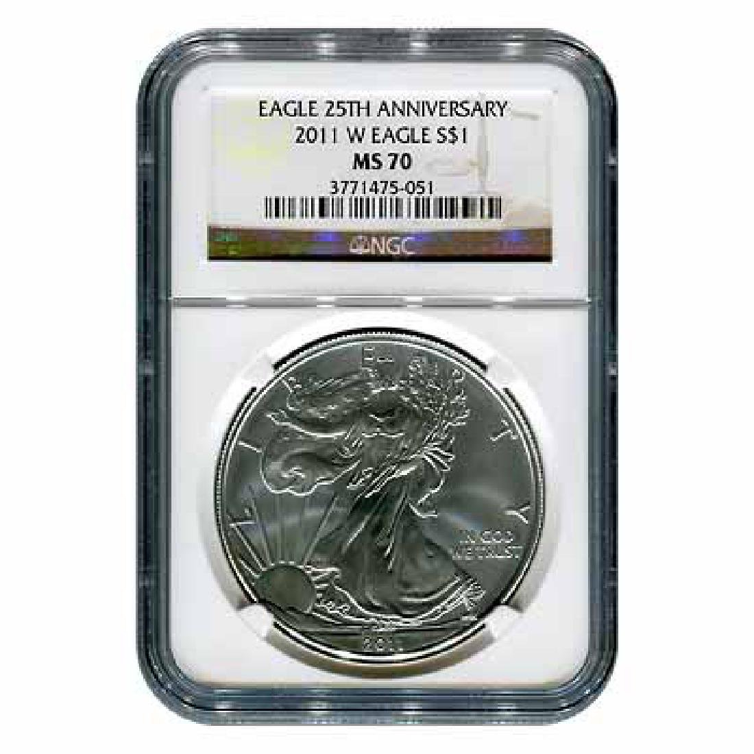 Certified Uncirculated Silver Eagle 2011-W MS70 NGC