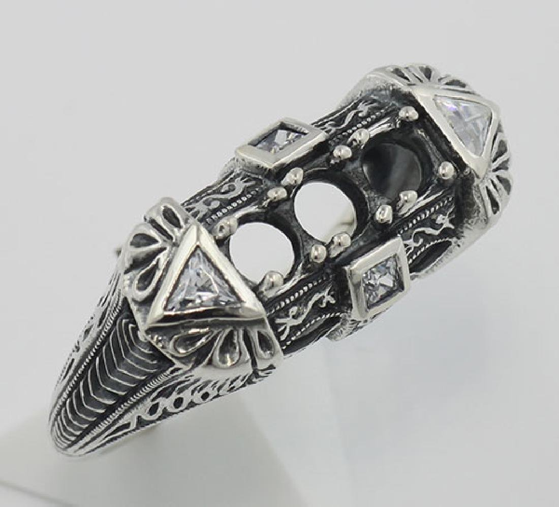 Art Deco Style Semi Mount Sterling Silver Filigree Ring