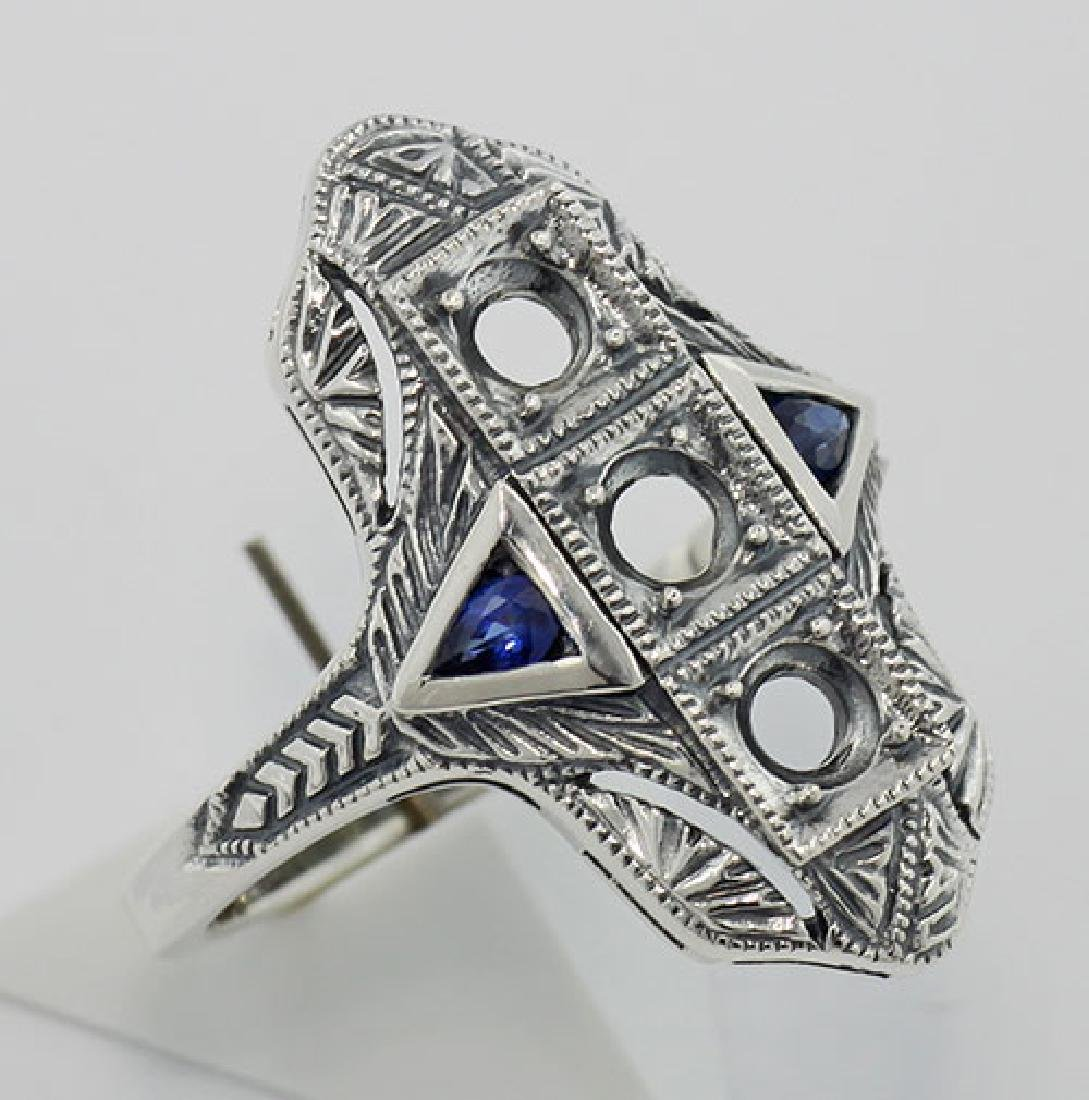 Art Deco Style Semi Mount Ring w/ Sapphire Accents - St