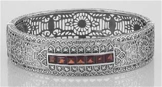 Art Deco Style Filigree Bangle Bracelet Garnet  Diamon