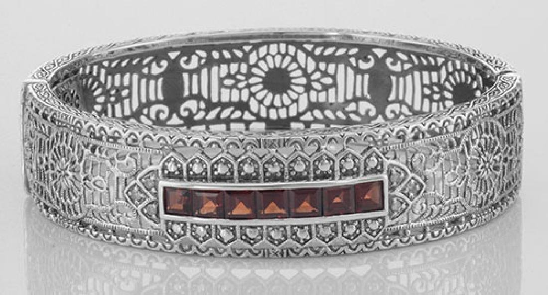 Art Deco Style Filigree Bangle Bracelet Garnet / Diamon