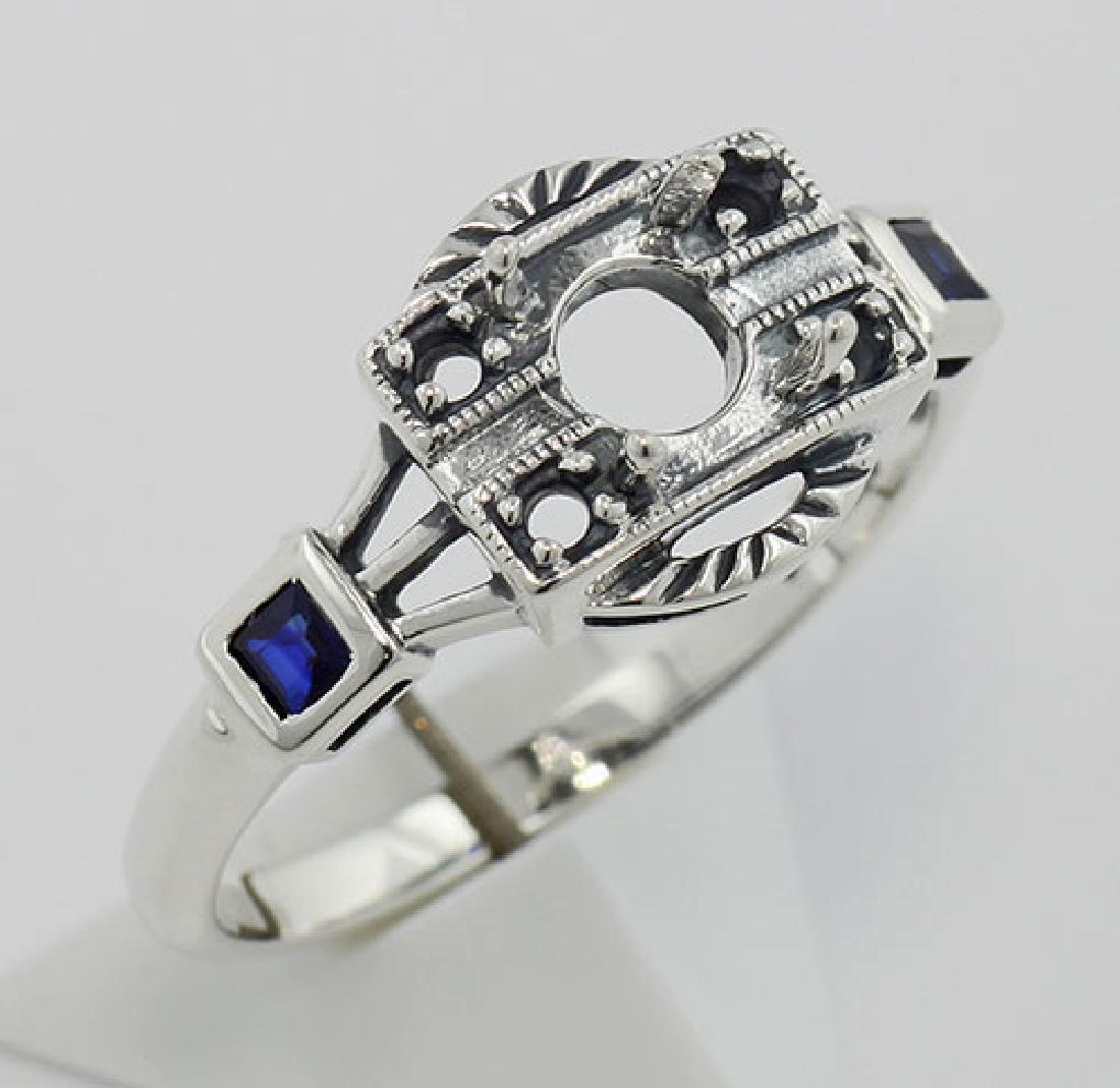 Semi Mount Sapphire Filigree Ring - Art Deco Style Ster