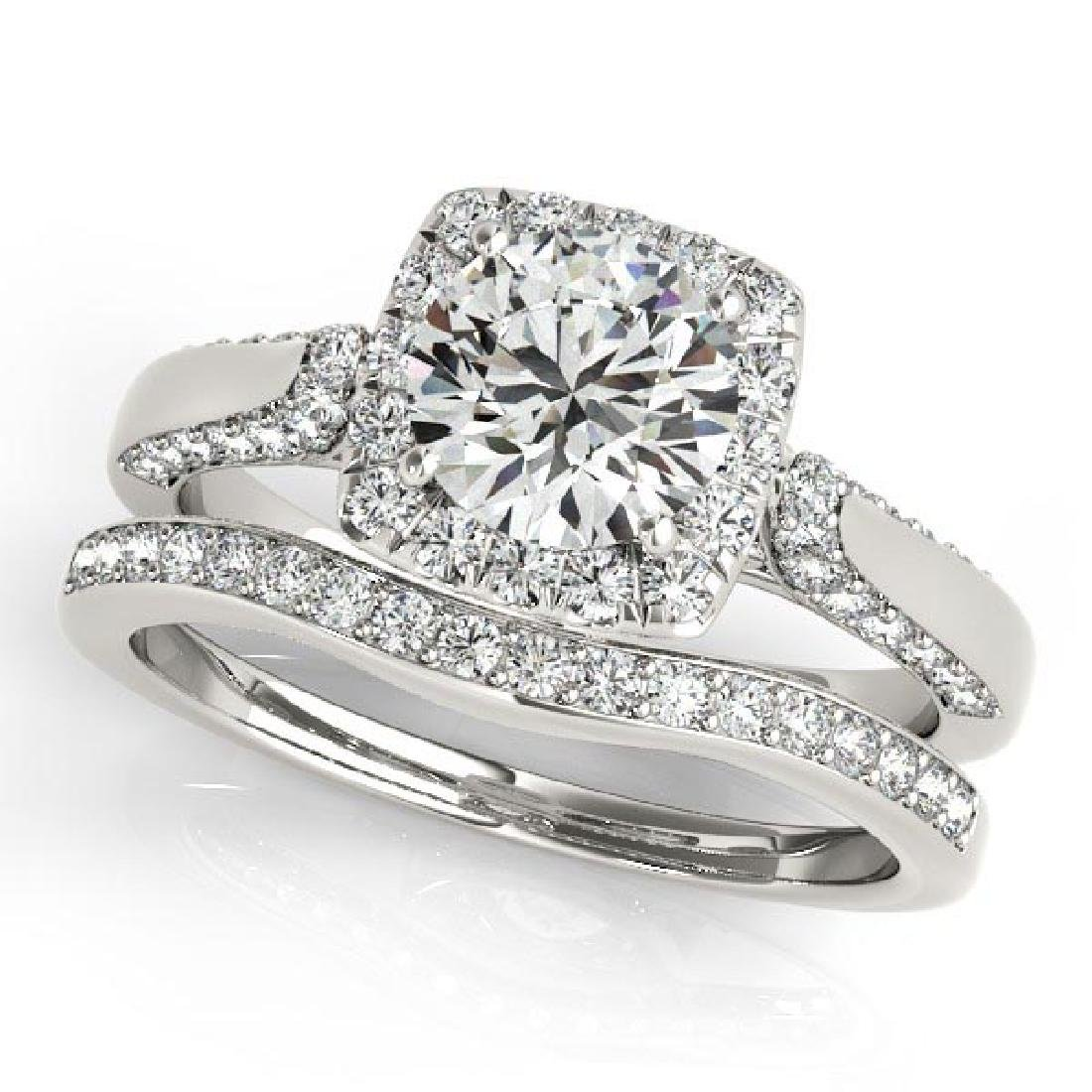 Diamond Accented Square Halo Ring and Band Bridal Set 1