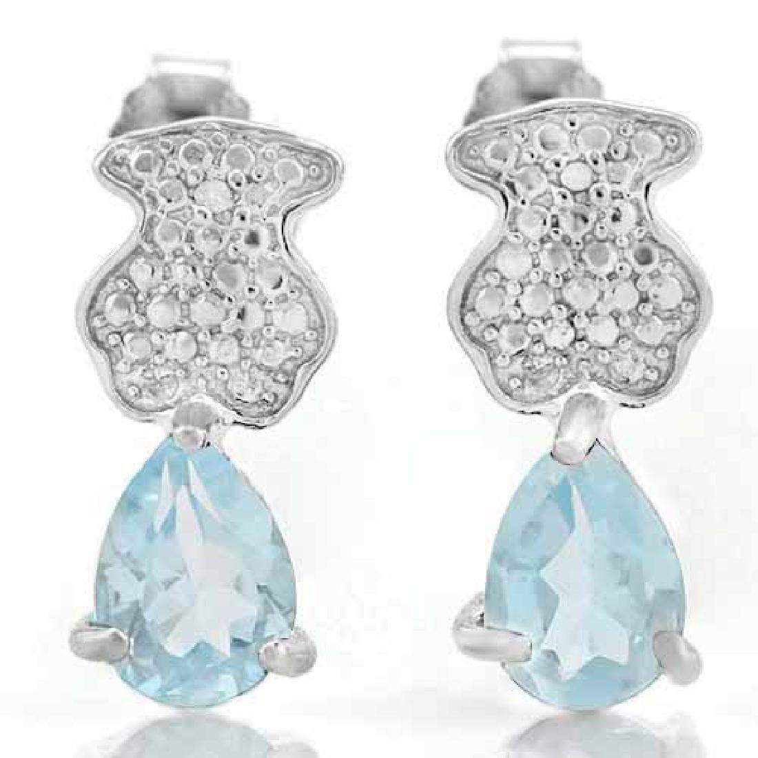 4/5 CARAT BABY SWISS BLUE TOPAZ & DIAMOND 925 STERLING