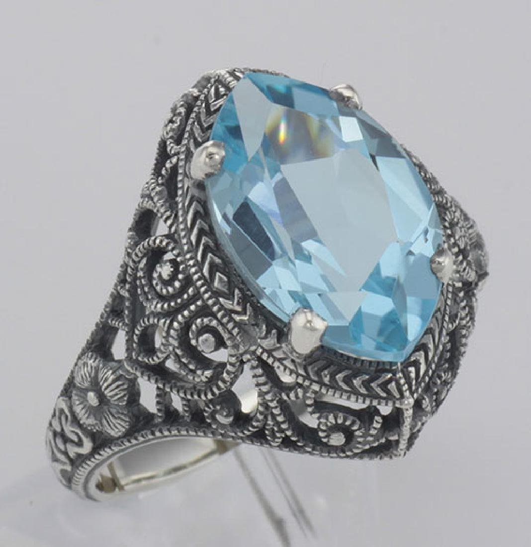 Beautiful 3 Carat Victorian Style Blue Topaz Filigree R
