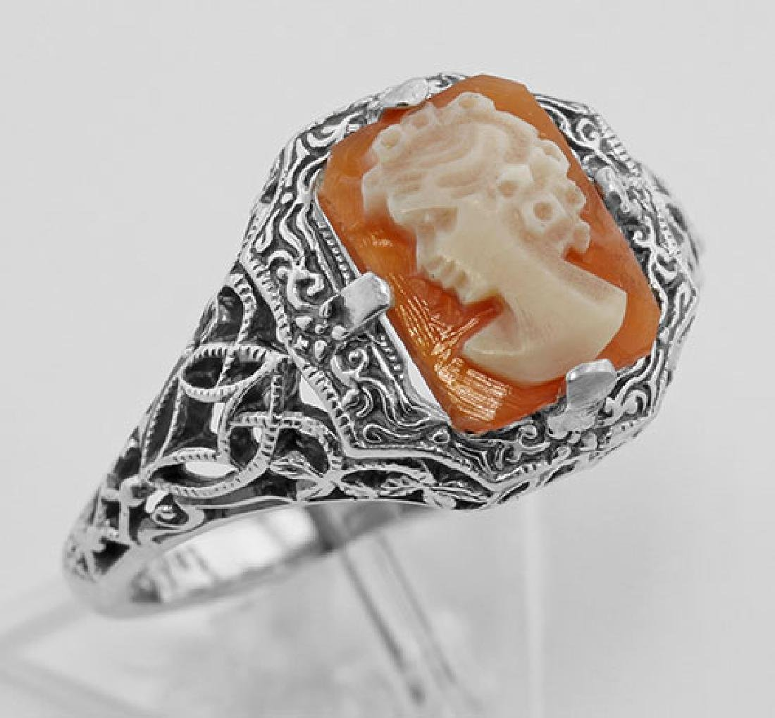 Hand Carved Italian Shell Cameo Filigree Ring - Sterlin