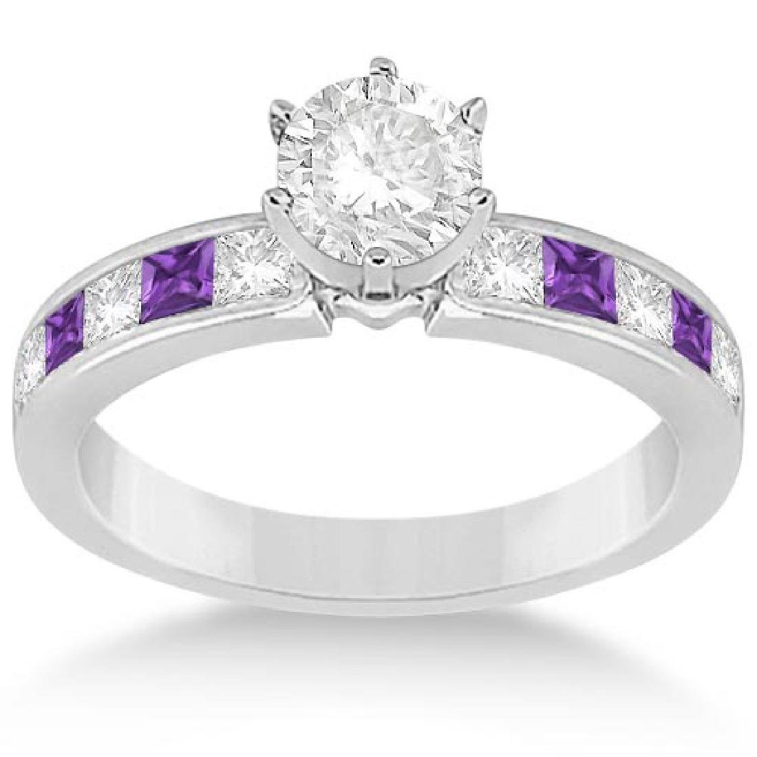 Channel Amethyst and Diamond Engagement Ring 14k White