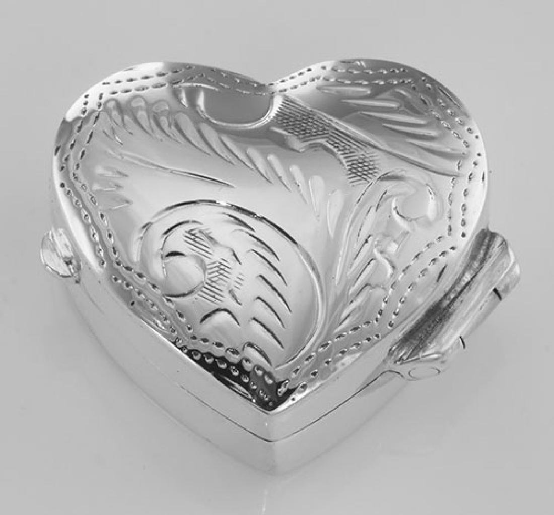 Small Beautiful Heart Shaped Sterling Silver Pillbox wi