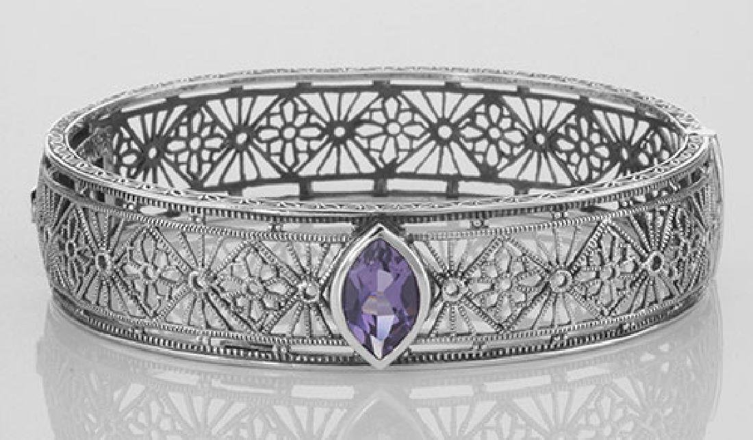 Victorian Style Filigree Amethyst Bangle Bracelet In Fi