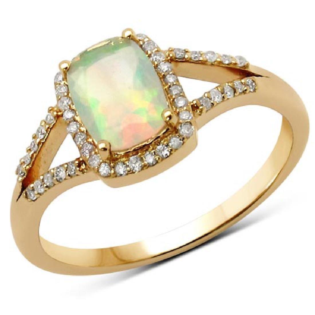 0.54 Carat Genuine Ethiopian Opal and White Diamond 14K